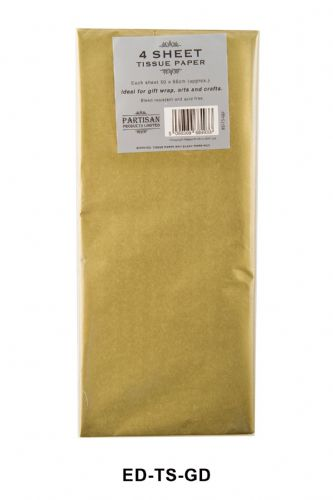 4 Sheet Tissue Paper Gold